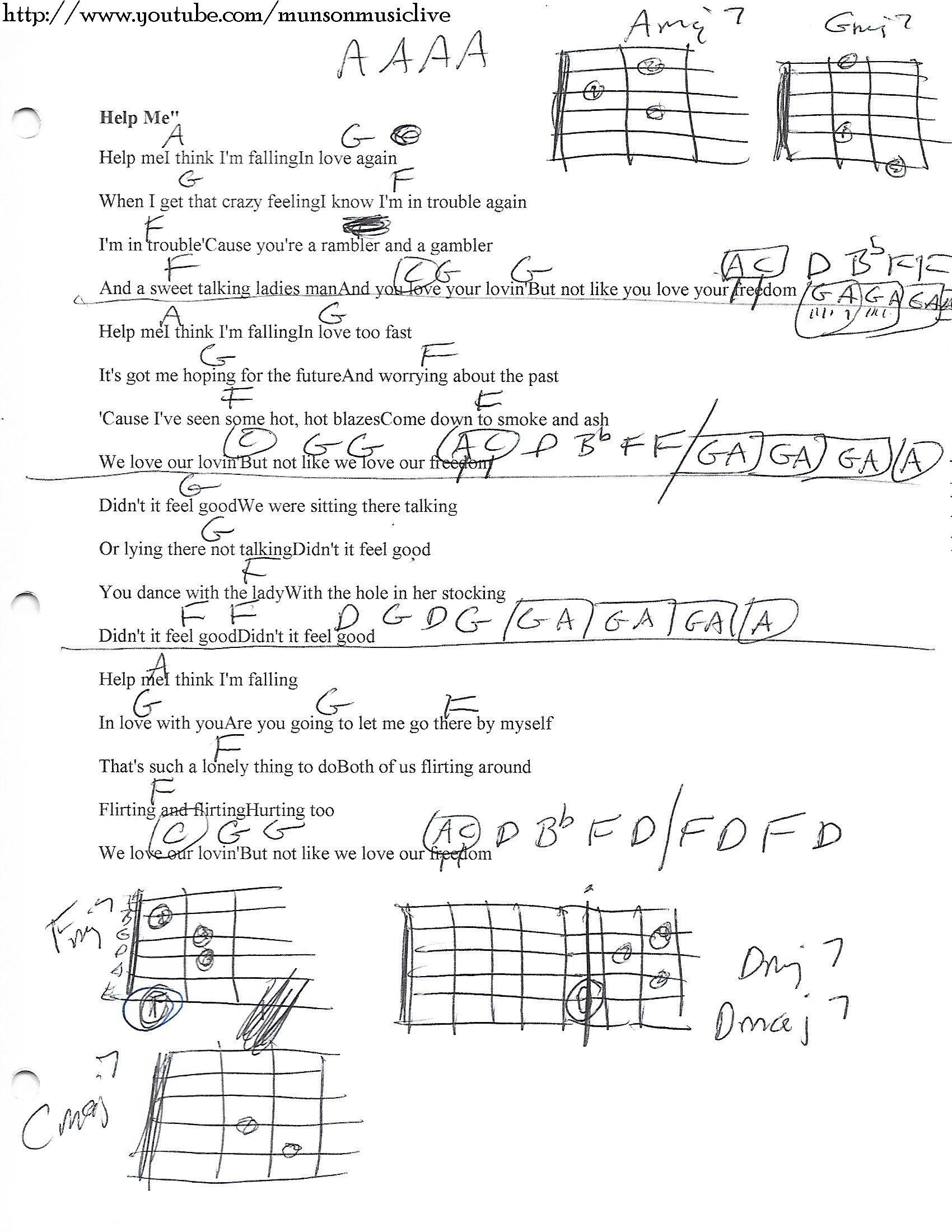 Help Me Joni Mitchell Guitar Chord Chart Guitar Lesson Chord