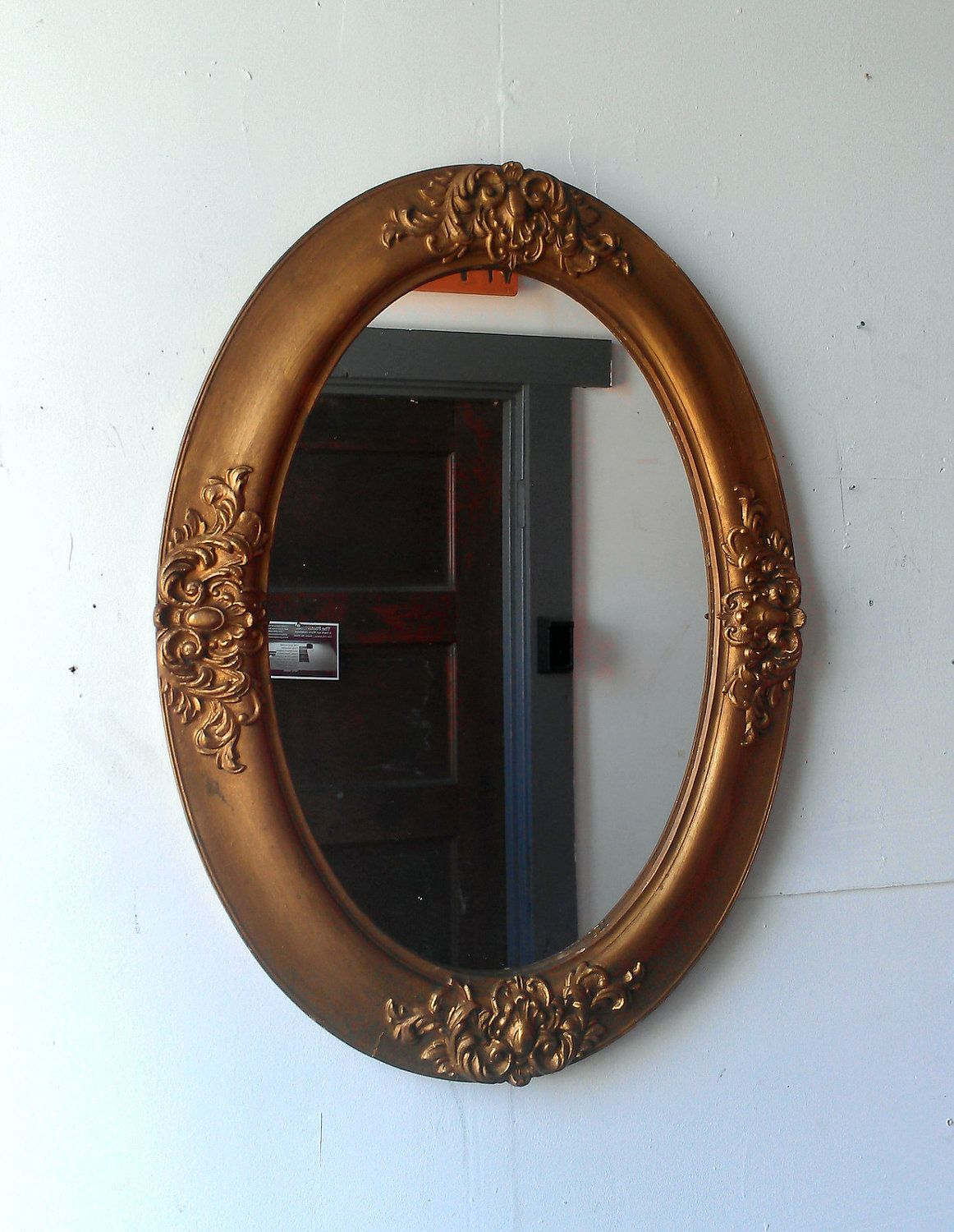 Oval Mirror Wood Frame Gold Oval Mirror In Antique Wood Frame 24 By