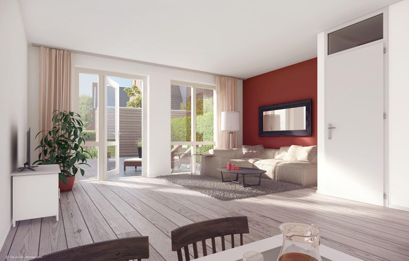 woonkamer met openslaande deuren naar de tuin hoge ramen