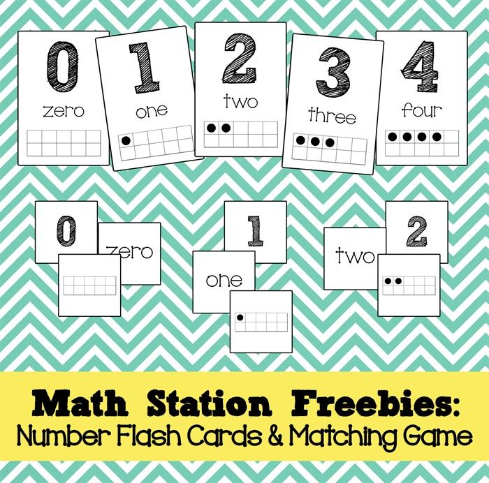 Math Station Freebies: Number Flash Cards & Memory Game!   Number ...