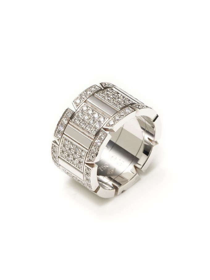 Cartier White Gold & Diamond Tank Ring from Estate Jewelry Shop: Cartier on Gilt