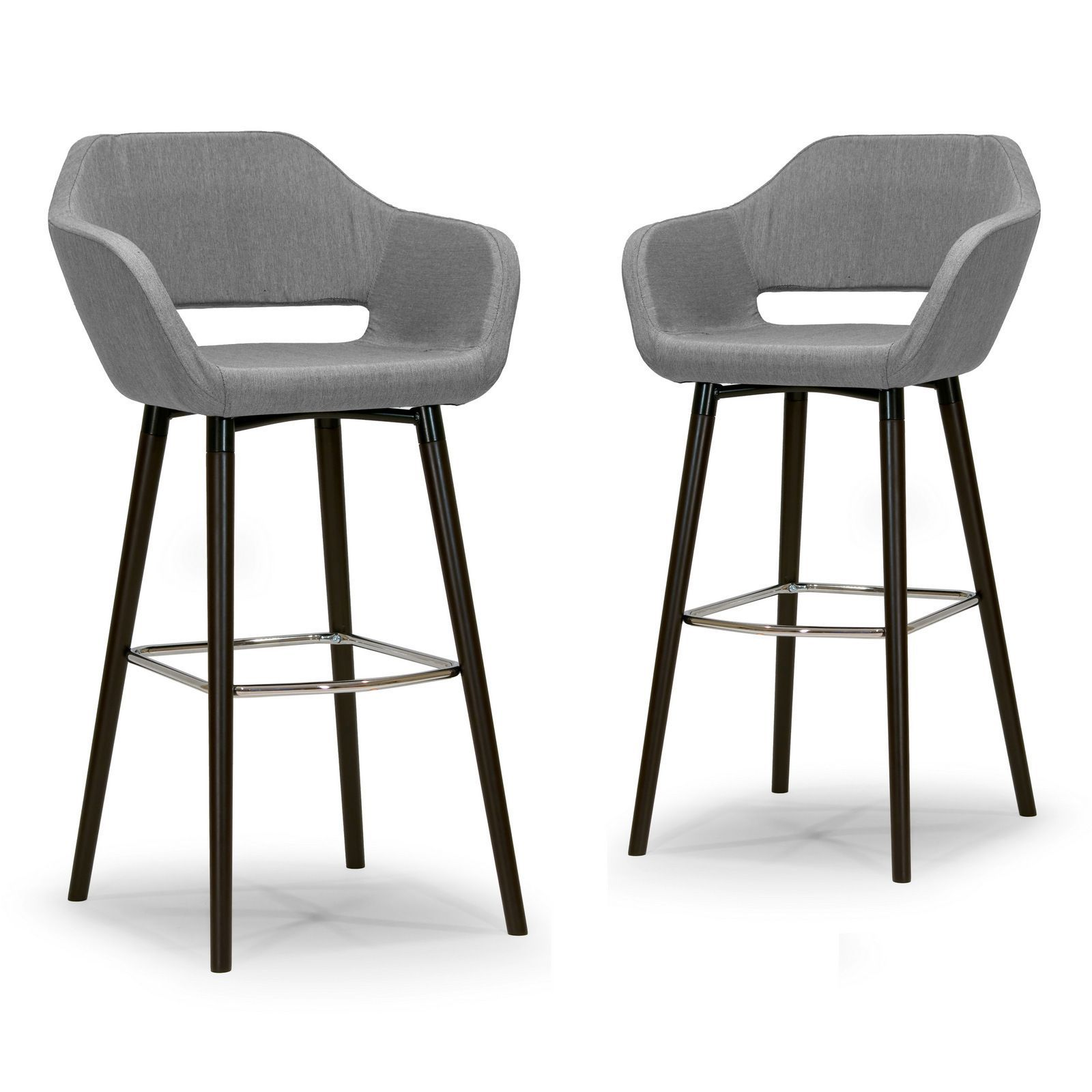 Glamour Adel Modern Grey Fabric Bar Stool With Beech Legs Set Of 2