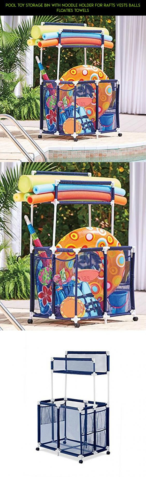 Pool Toy Storage Bin With Noodle Holder For Rafts Vests Balls Floaties  Towels #products #