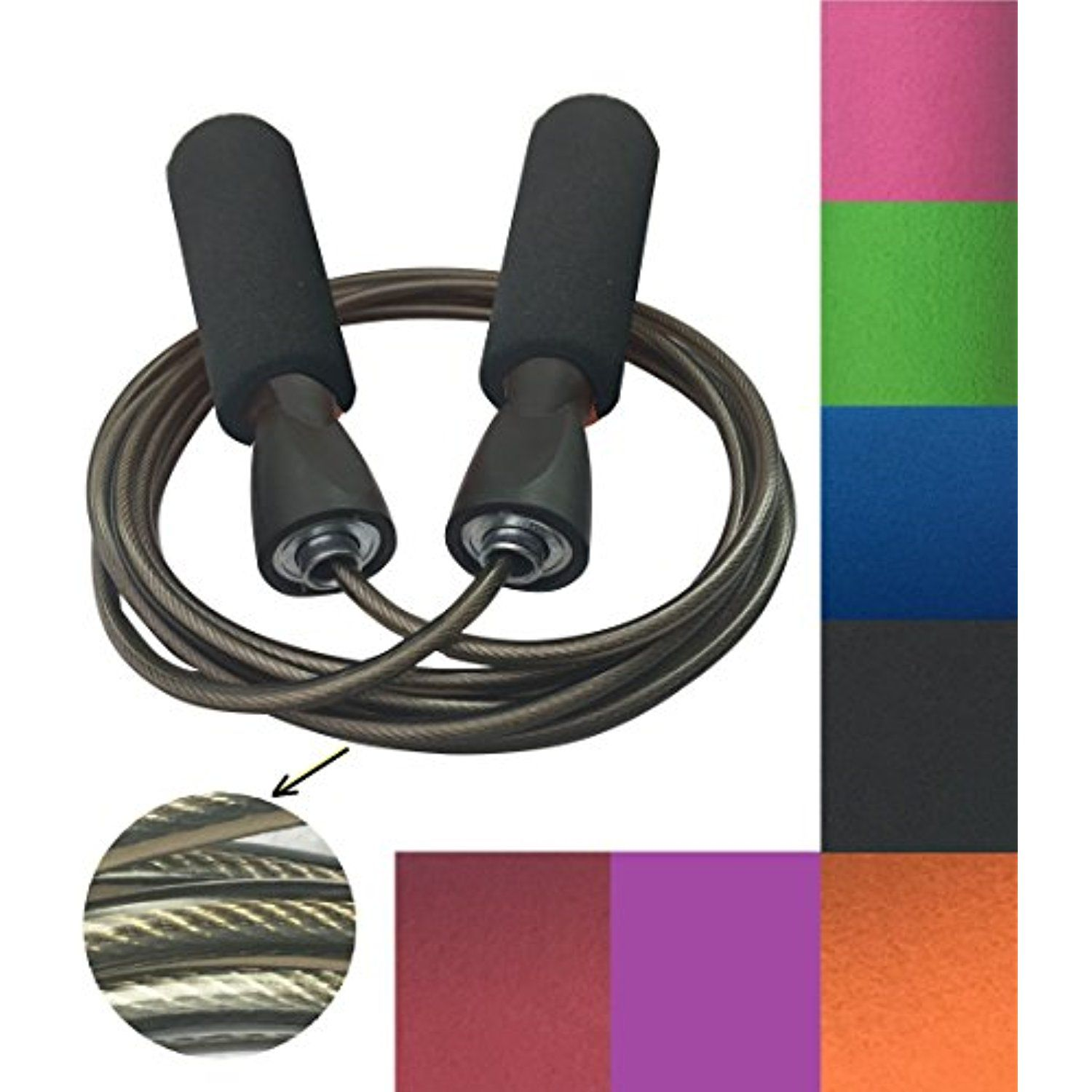 MAXSOINS Professional Adjustable Steel Wire Jump Rope with Carrying Pouch by to
