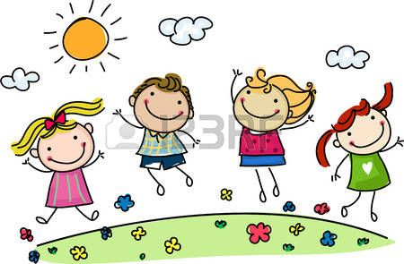 Bambini Stilizzati Saltando Bambini Felici Pasqua Dibujos Para