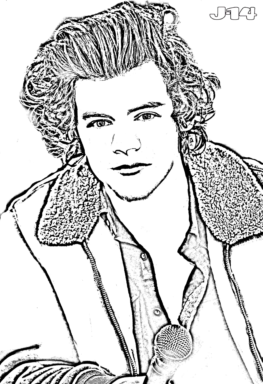 harry-styles-coloring-page.jpg (2056×3000) | Desenhos da 1D | Pinterest