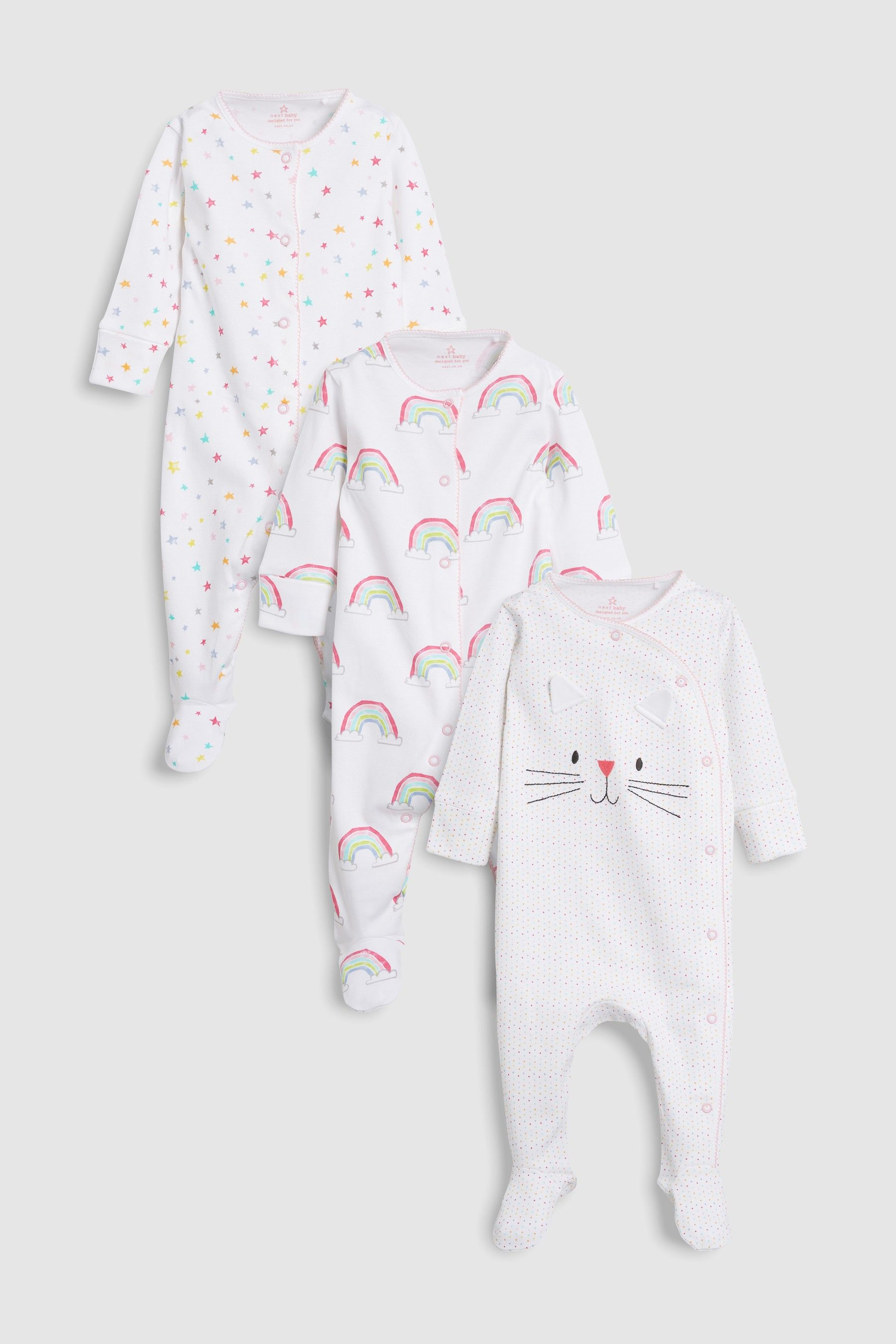 098e11fd7a02 Girls Next Bright Cat Sleepsuits Three Pack (0mths-2yrs) - White ...