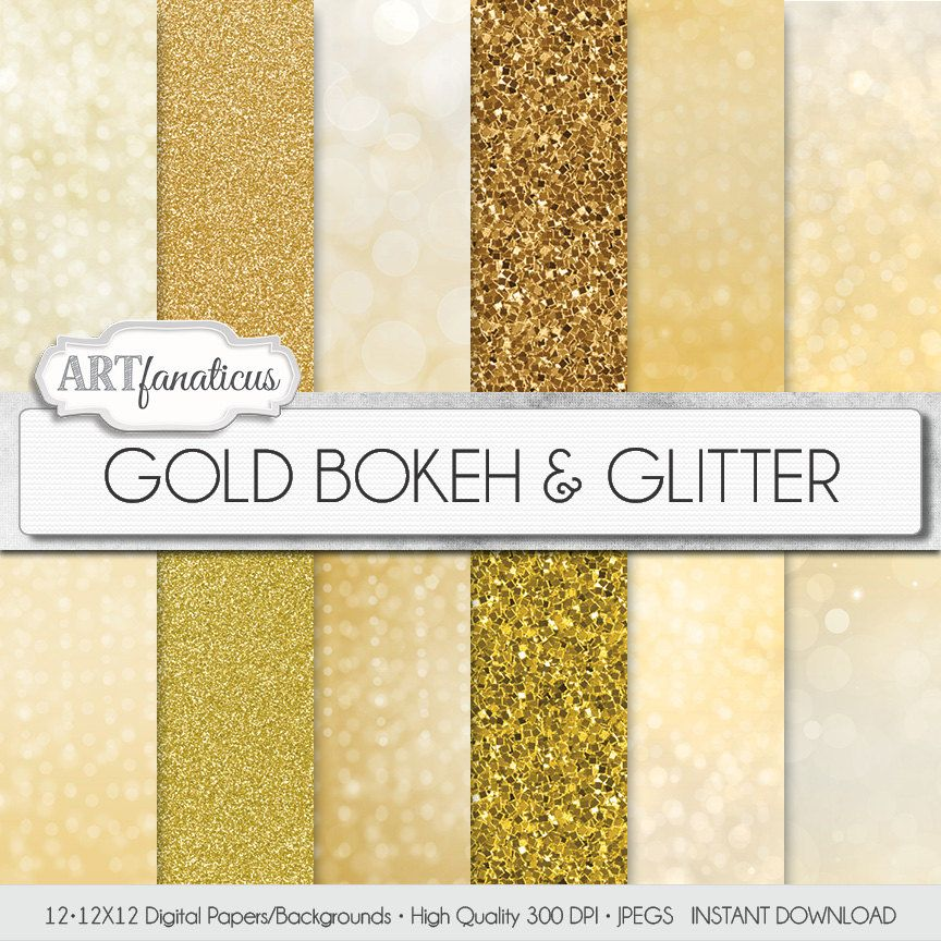 GOLD BOKEH & GLITTER, gold digital papers with gold glitter background, gold bokeh background, backgrounds for photographers, scrapbooking #goldglitterbackground
