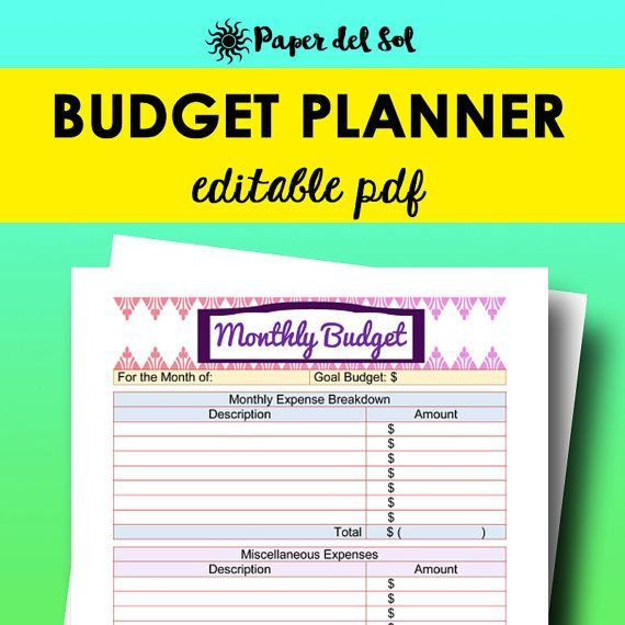 Budget Planner Printable Editable Monthly Budget Planner