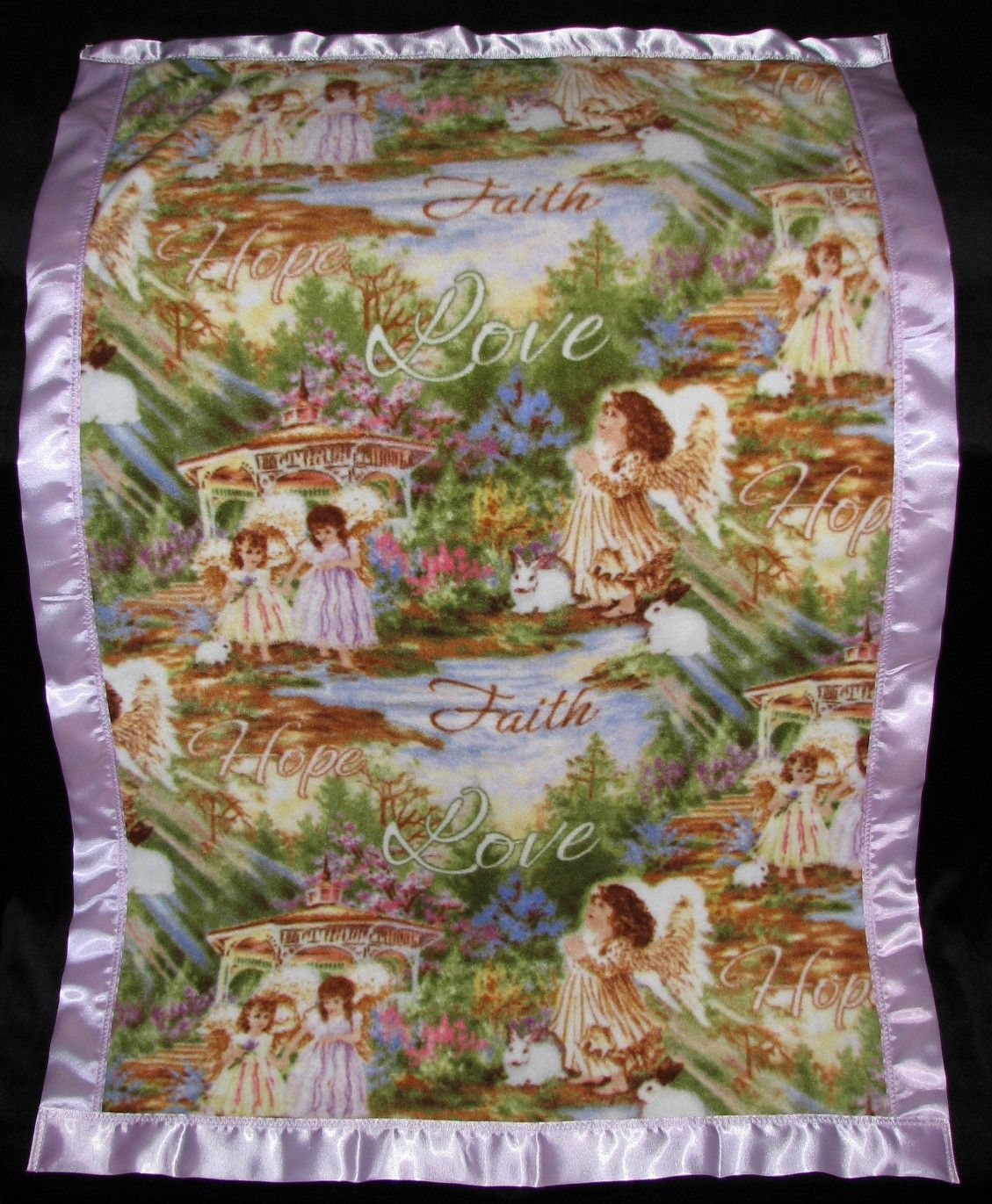 This Fleece blanket has Faith, Hope, Love on it and is made from 100% Polyester Fleece with a two inch satin trim around the blanket (all our blanket trims and fleeces are 100% Polyester). We will personalize the blanket which is included in the price with the person's first name (embroidery letters are about 2 inch tall). We are in no way a sponsor or affiliated with the licensee or manufacturer. We Guarantee Quality in our blankets. Thank you for your Business.