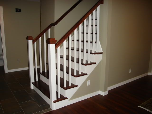 Lighting Basement Washroom Stairs: Stair Rail Stain Color Advice
