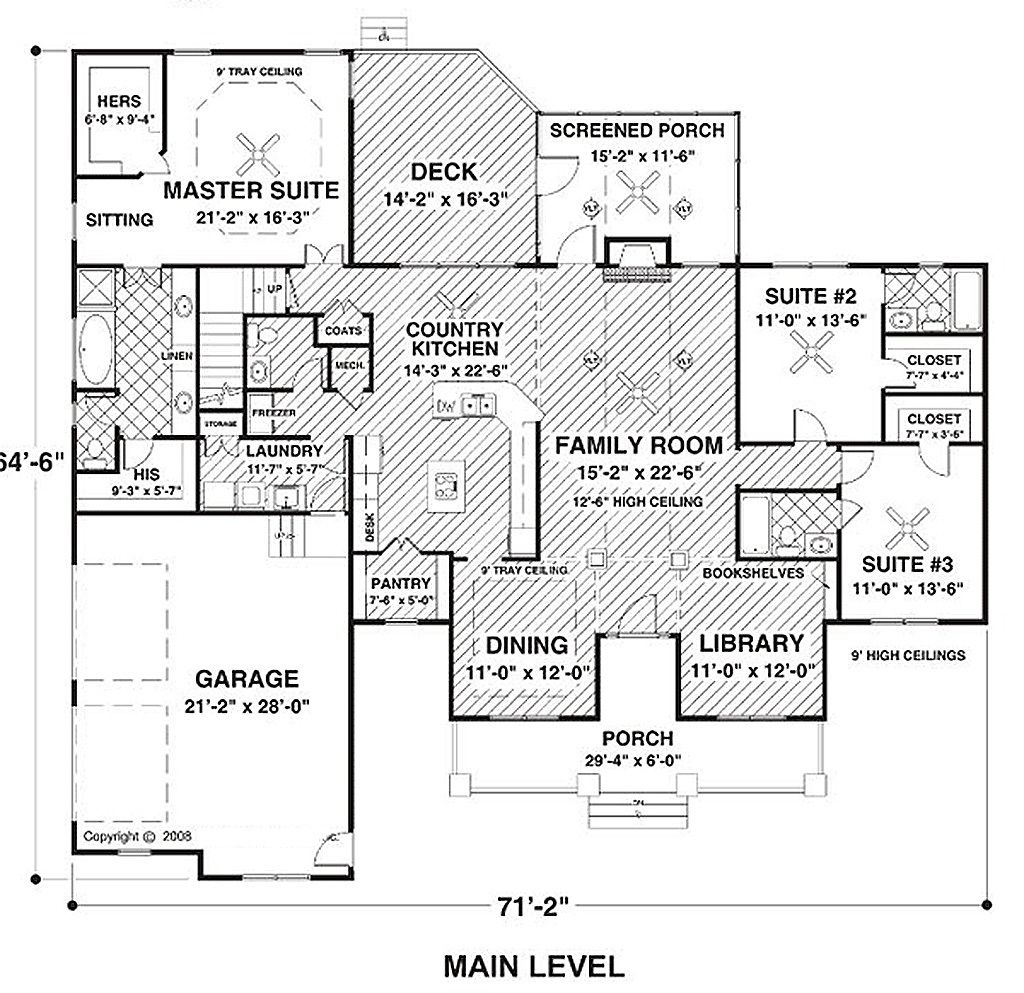 Country Style House Plan - 3 Beds 3.50 Baths 2294 Sq/Ft Plan #56-608 ...