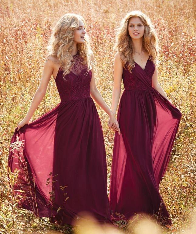 10 choses sur les robes longues de demoiselle d\'honneur | Burgundy ...