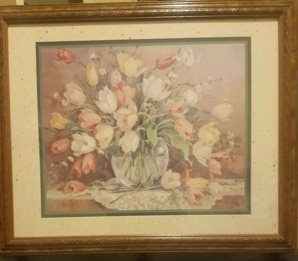 Homco Home Interiors Picture Barbara Mock Colorful Flowers In Vase Homcohomeinteriorsandgift Home Interiors And Gifts Vintage Floral Print Interior Pictures
