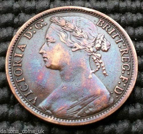 M2-UK-1874-Small-Date-Thin-Ribbons-Victoria-One-Penny-Coin