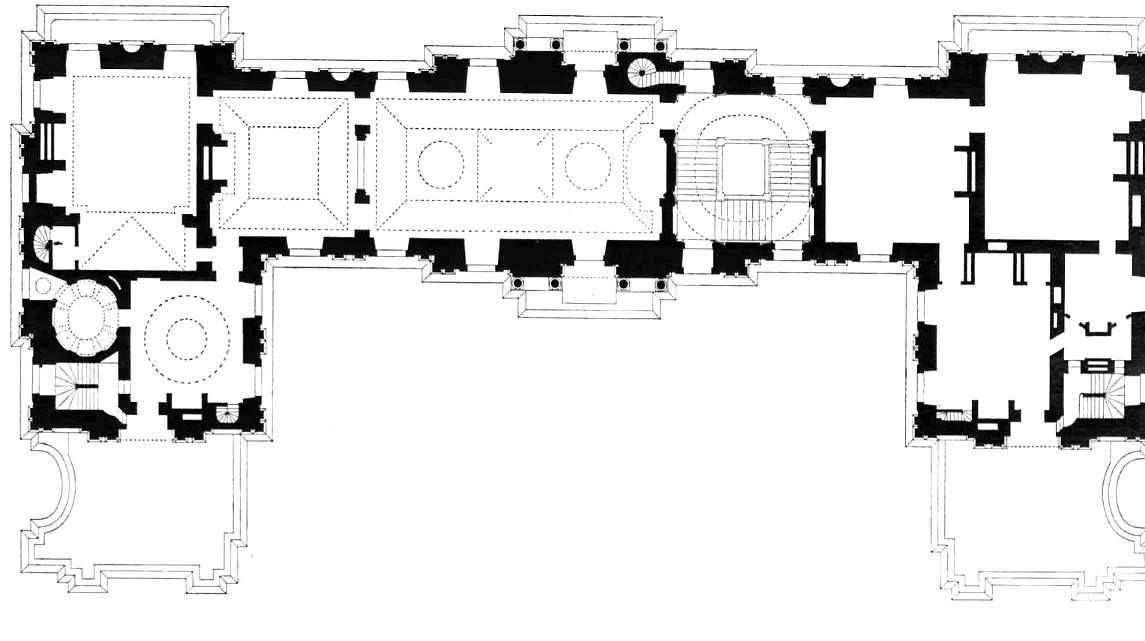 Château de Maisons-Laffitte - Floor plan of the first floor. 1,145×641 pixels