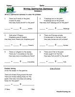 writing subtraction sentences worksheets first grade math math addition worksheets. Black Bedroom Furniture Sets. Home Design Ideas