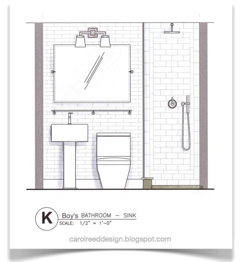 NYC Reno Progress & Boy's Bath Interior design sketches