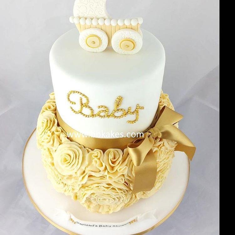 Lovely Cream White And Gold Baby Shower Cake Bbkakes Cake