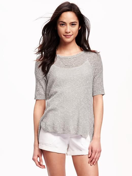 Like the top.  I have tankinis to wear underneath.  Like the sheer sweater for the warmer weather.
