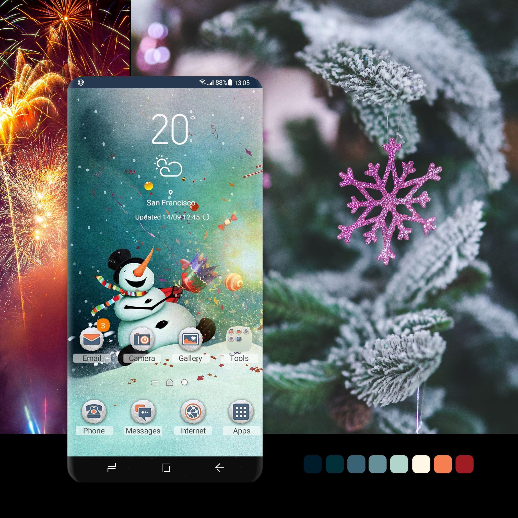 New Year Snowman Christmas Phone Wallpaper Phone Themes Galaxy Theme