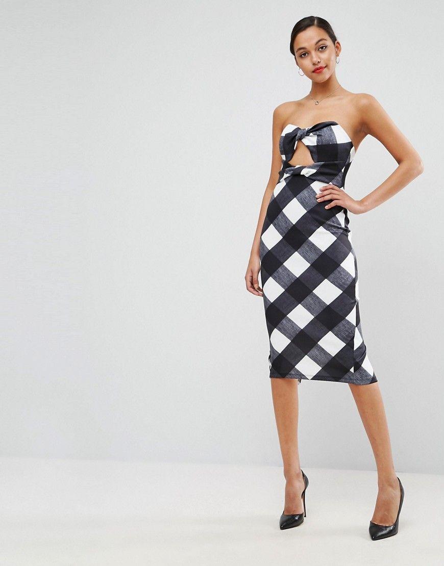 8f354e56c4 ASOS Gingham Bandeau Scuba Midi Dress - Multi
