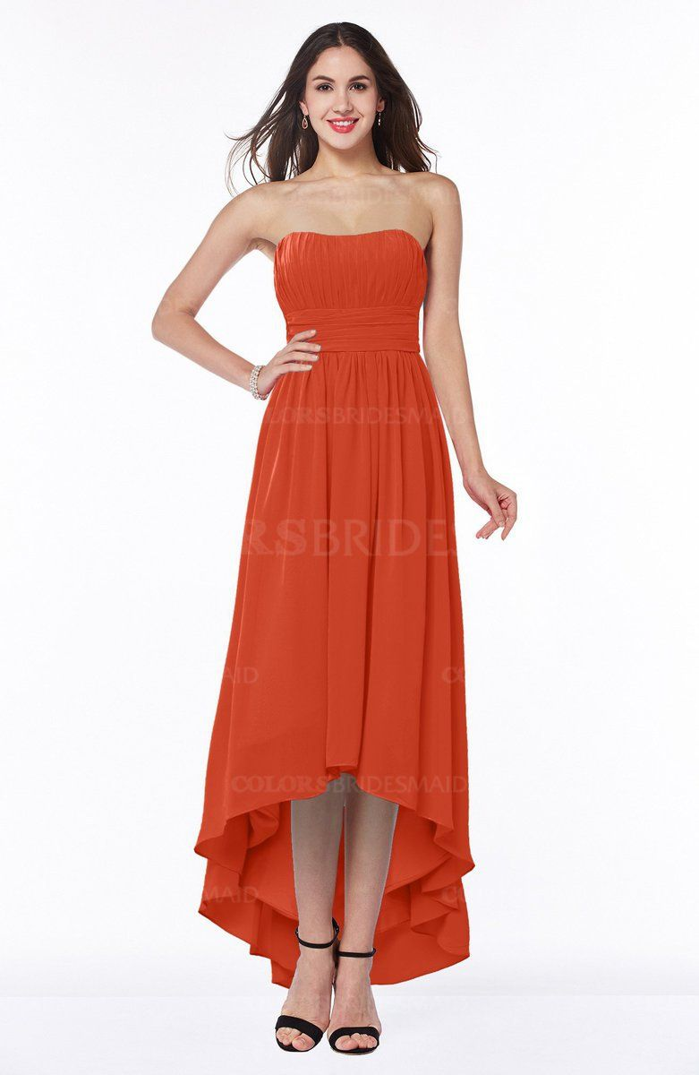 b47c0080f72 Persimmon Simple A-line Sleeveless Zip up Asymmetric Ruching Plus Size  Bridesmaid Dresses (Style D49509)