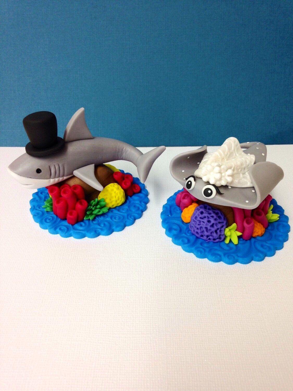 Fondant sea animal wedding cake topper set fondant shark