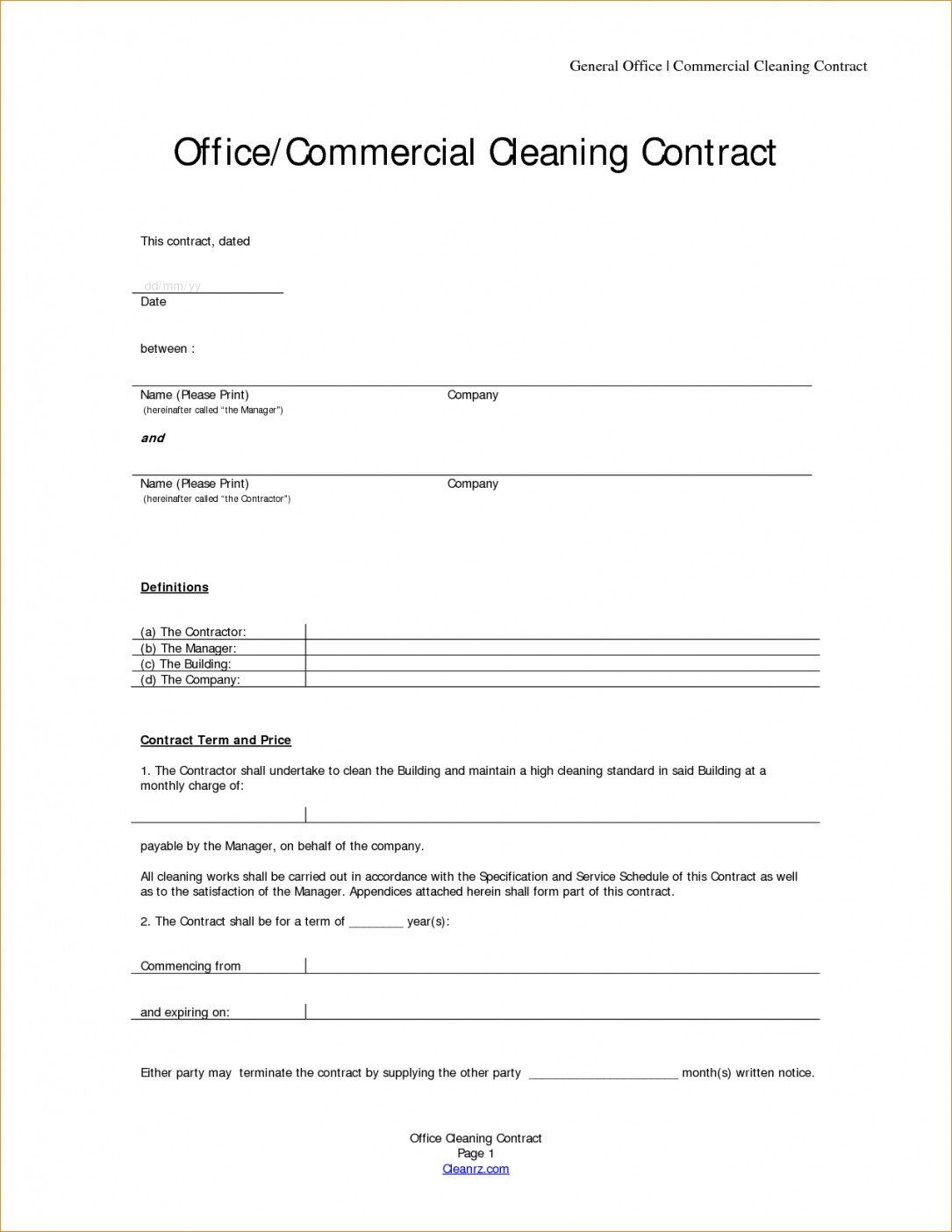 Free Cleaning Contract Template Lovely Cleaning Contracts