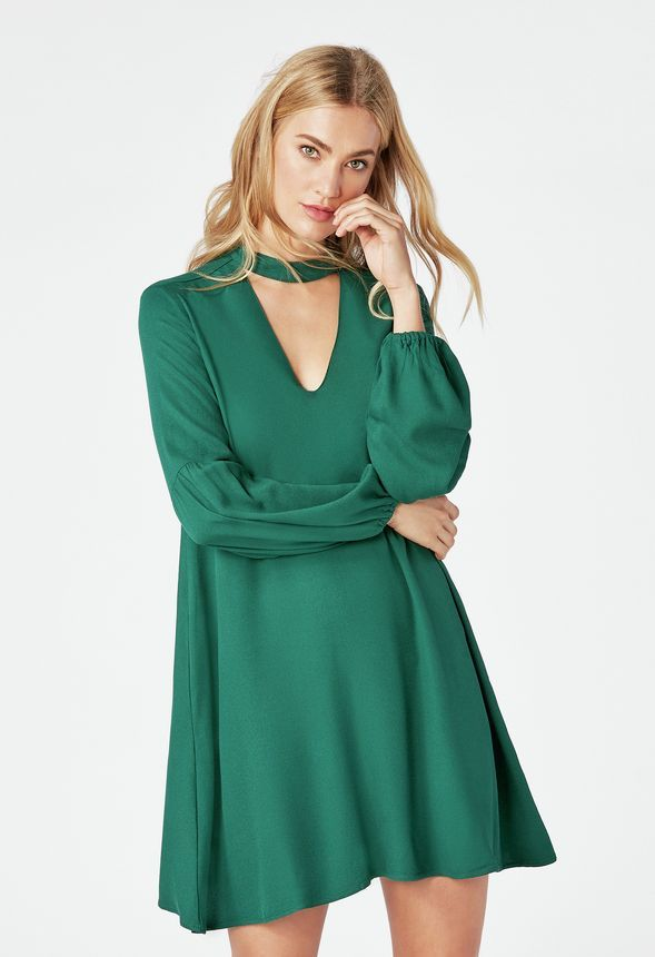 963060b208 Tiered Sleeve Dress in Winter Green - Get great deals at JustFab ...