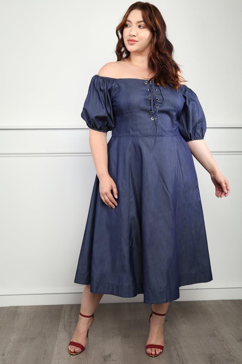 Mona Plus Size Off-The-Shoulder Chambray Dress | plus size ...
