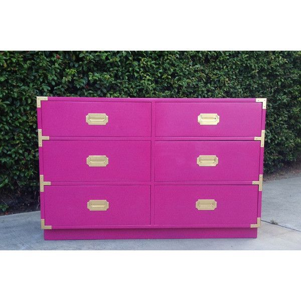 SOLD - Hot Pink and Gold Campaign Dresser ($425) found on Polyvore