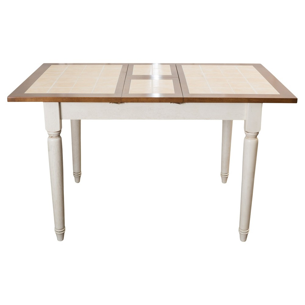 Clearwater Tile Dining Table W Leaf Extension Beige White