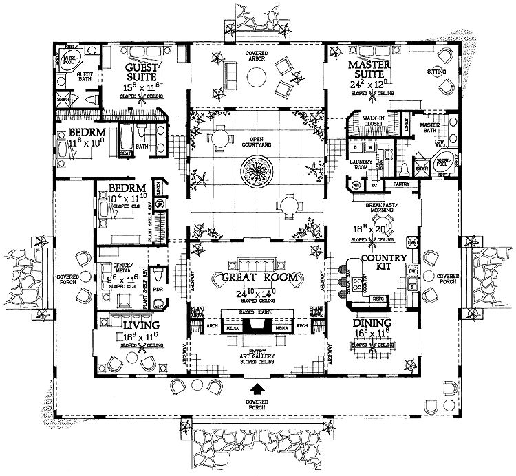 Mediterranean Style House Plan 4 Beds 3 5 Baths 3163 Sq Ft Plan 72 177 Mediterranean Style House Plans Courtyard House Plans Ranch Style House Plans