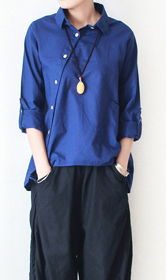 Navy Linen Shirt Asymmetrical Cotton T Shirt Womens Top Linen
