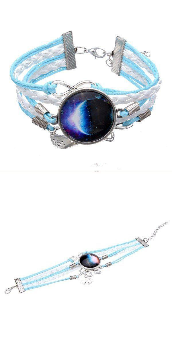 Cprime Bracelets Blue Bird Leaf Infinity Galaxy Time Gem Multilayer Leather Bracelet