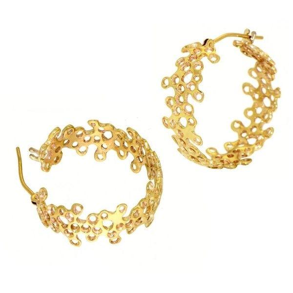 Arosha Luigi Taglia Lace 9k Gold Hoops Earrings ($530) ❤ liked on Polyvore