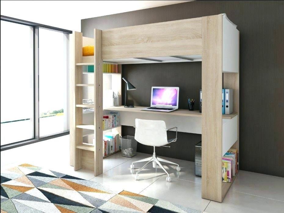 Lit bureau mezzanine lit mezzanine 2 places avec bureau lit en