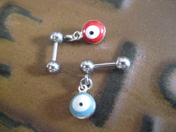 Evil Eye Cartilage Tragus Earring Piercing Bar Barbell 16g 16 G Gauge Surgical Steel