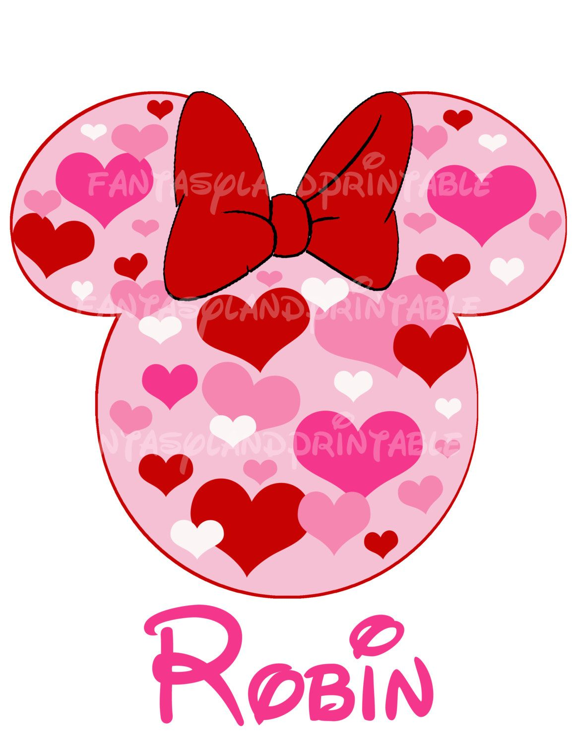 Minnie Mouse Valentine For Diy Printable Iron Transfer