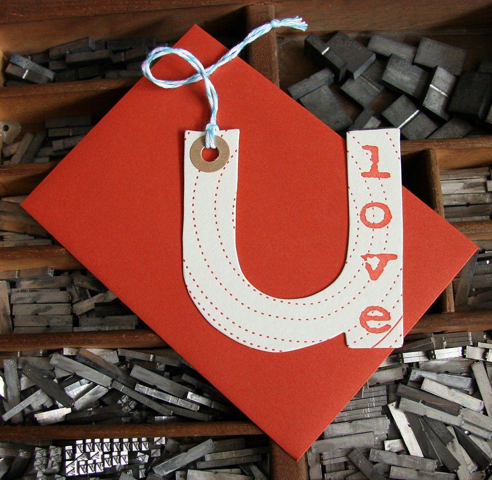 letterpress love u card die cut. $4Etsy  could be an ornament