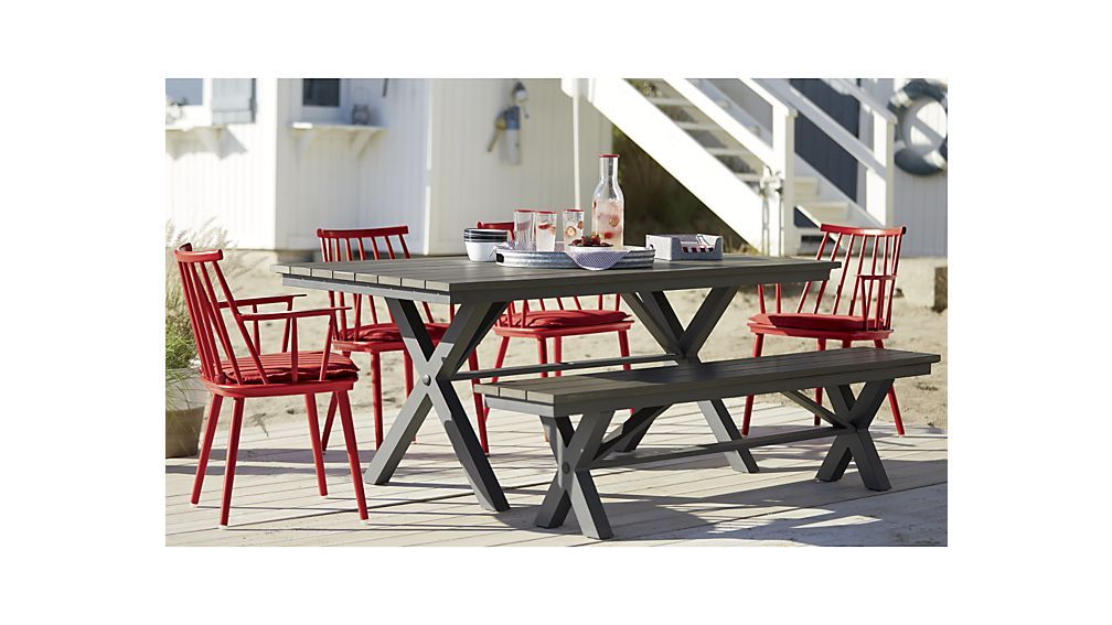 Union Red Dining Arm Chair With Sunbrella Cushion Trestle