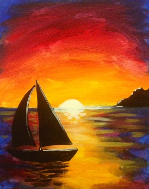 30 Sunset Themed Paintings Ideas Paint Nite Night Painting Canvas Painting