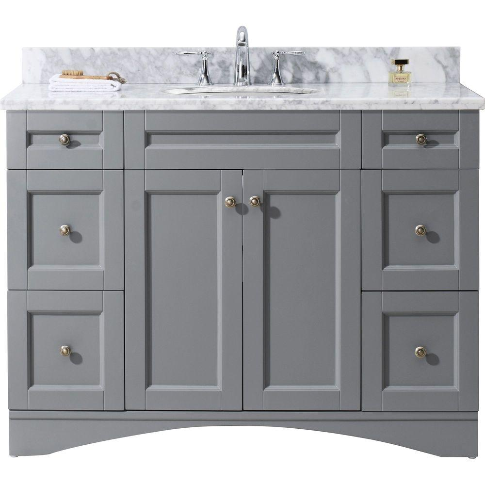 Virtu Usa Elise 49 In W Bath Vanity In Gray With Marble Vanity