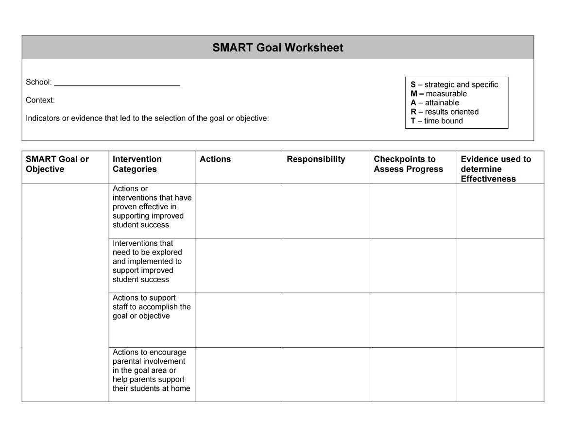Excel Smart Goal Worksheet Images Of