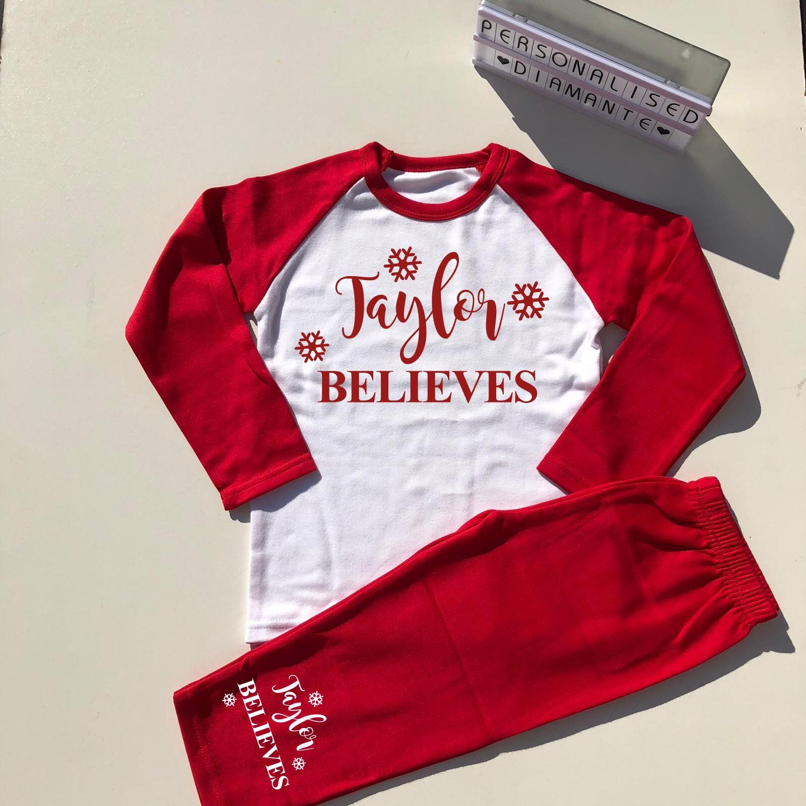 Personalised children/'s Christmas pyjamas PJs,Any name believes,3-4 and 4-5 yrs