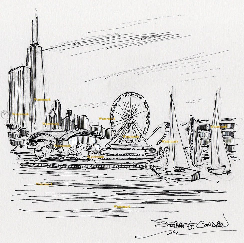 Pen  Ink Drawing Of Navy Pier With The Chicago Skyline In The - Chicago map navy pier