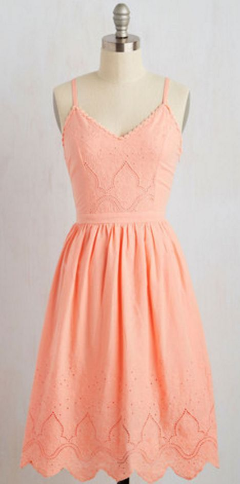 Peach Fit And Flare Dress Fashion Pretty Outfits