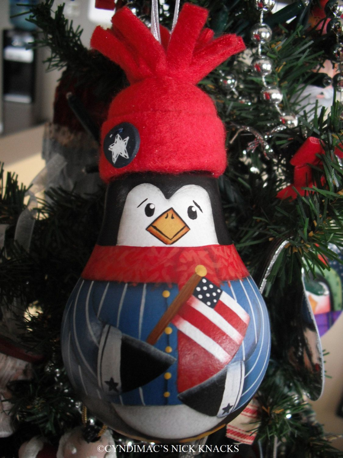Patriotic Penguin Lightbulb Ornament 17 95 Via Etsy