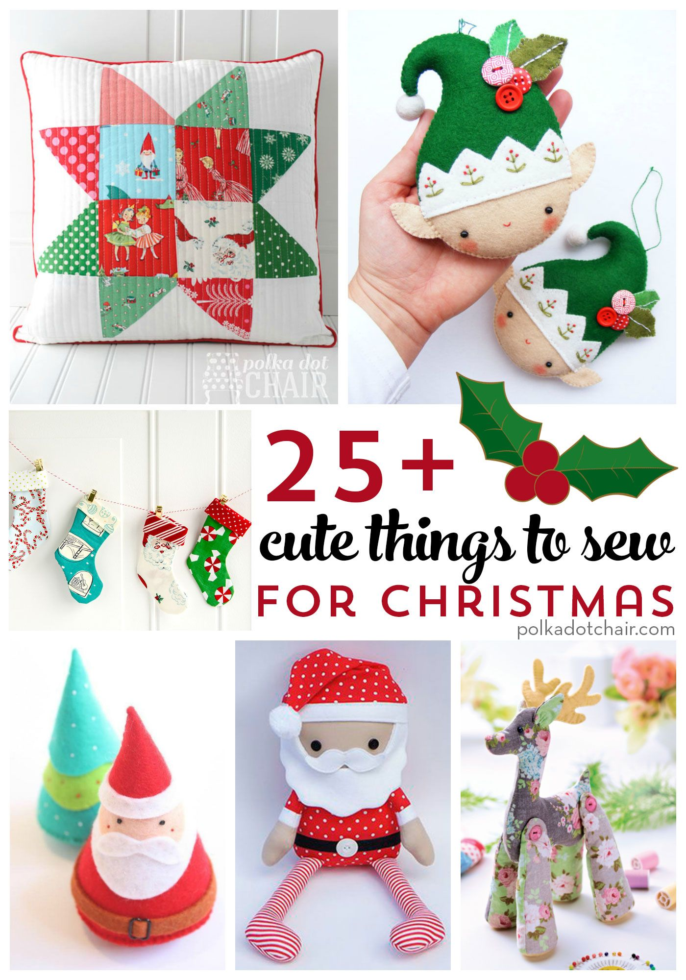More than 25 cute things to sew for christmas cute for Christmas decoration things